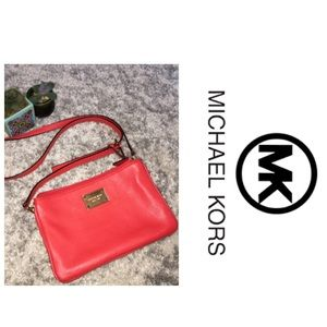 Michael Kors Red Leather Purse Crossbody